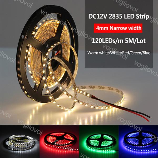 Luz de Tira CONDUZIDA SMD2835 5050 DC12V 300LED Rodada 2 fios Fiexble Luz Led Fita Não À Prova D 'Água Super Brilhante Luzes LED DHL