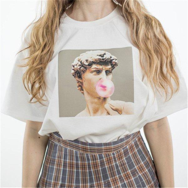 Yeni Moda David Michelangelo Baskılı T gömlek heykeli Ciklet sakız baskı Eğlenceli Harajuku Tişört