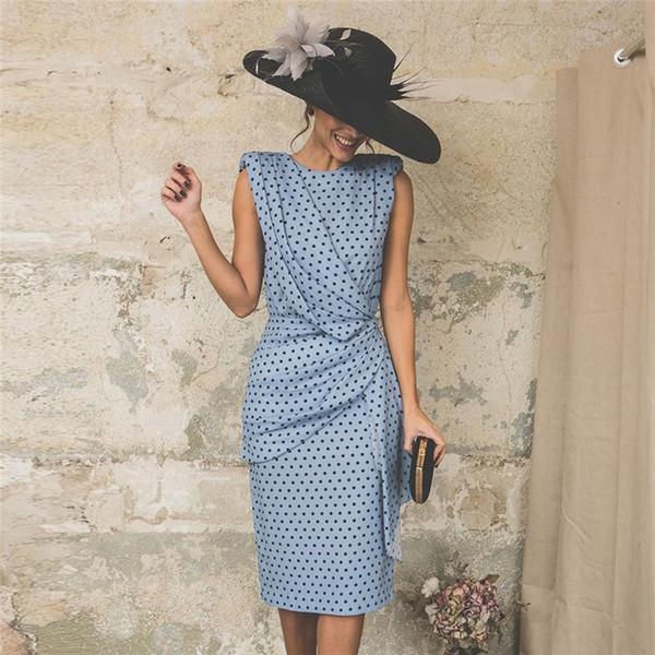 Kadın Polka Dot Bodycon Elbise Yaz Moda Baskılı Elbiseler Bayanlar Seksi Çalışma Elbiseler
