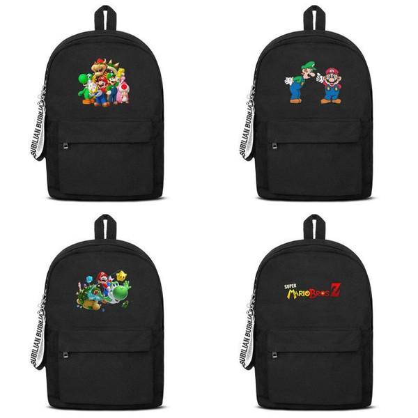 Super Mario Bros Pintura 2019 Nova Versão Coreana Mochila Saco de Lona Moda Tendência Vento Estudantes Universitários Viagem Impresso Retro Diário Z