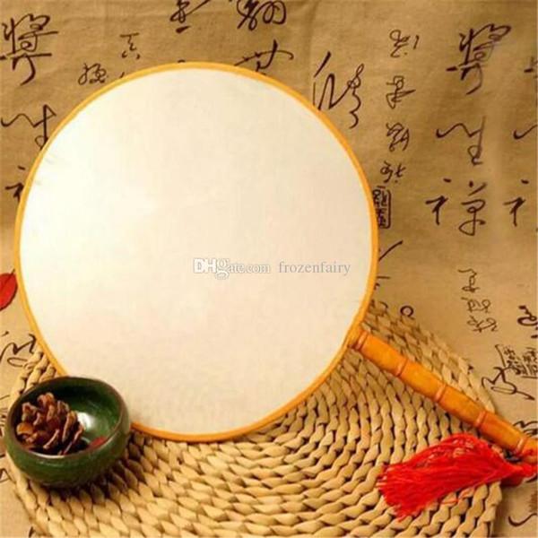 DIY Blank White Silk Handfächer mit Griff Student Kinder Hand Malerei Fine Art Programme Chinese Palace Runde Fan aa331-333