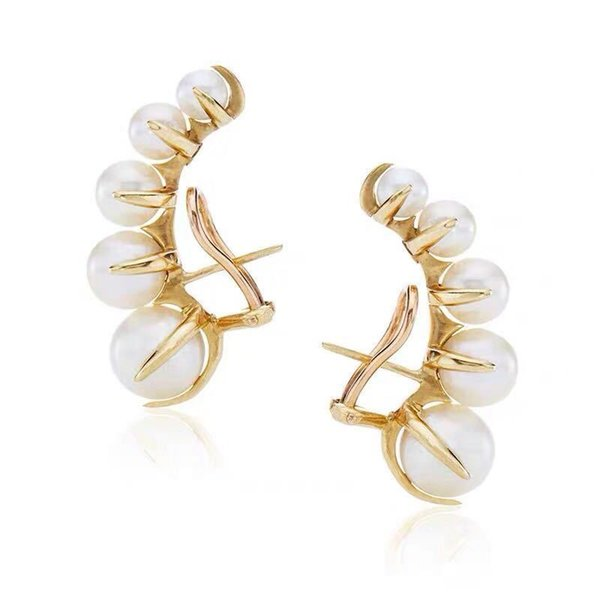 Brass Vacuum Electroplate 18k Golden Gradient Ear Clamp Type Pearl Earrings