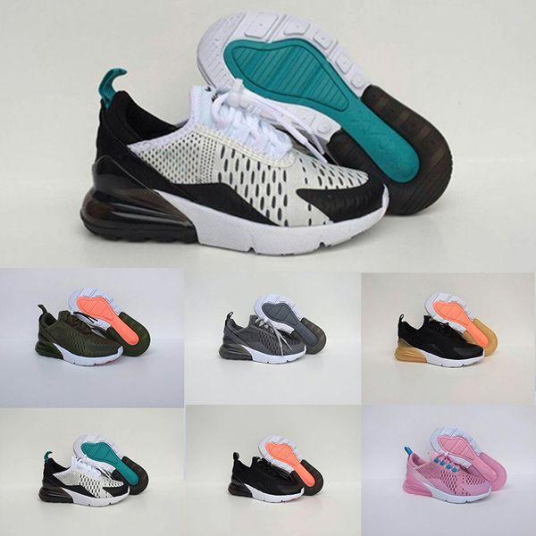 Compre Nike Air Max 270 28 35 Otoño Niños Deportes Gris Púrpura Rosado Zapatillas De Deporte Casuales Niños Chicas Coco Entrenador Malla Transpirable