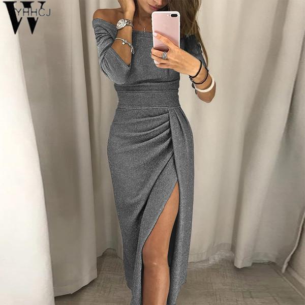 Atacado 2018 mulheres outono sexy dress 8 cores barra de pescoço mid-bezerro bodycon lado da divisão plus size 3xl vestidos de festa preto