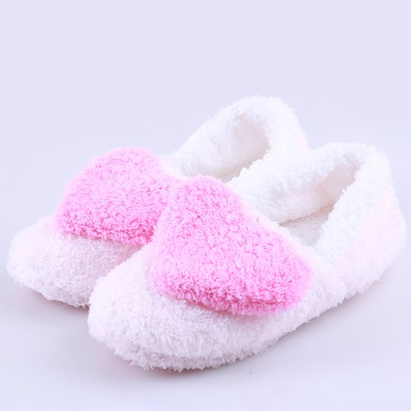 Comfortable Slipper Big Heart Decor Slippers Warm Soft Sole Womens Short Plush Home Indoor Floor Covered Heel Shoes 914289