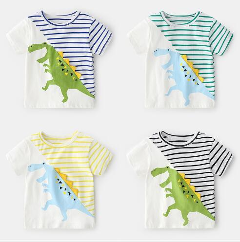 top popular New boy's short sleeve children's clothes top foreign children's cartoon baby spring pure cotton baby boom T-shirt 2021