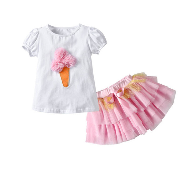 Ins birthday party Girls Outfits Summer cotton ice cream T shirt+lace Tutu Skirts Tiered Skirt princess Kids Sets baby Dress Suits A4859