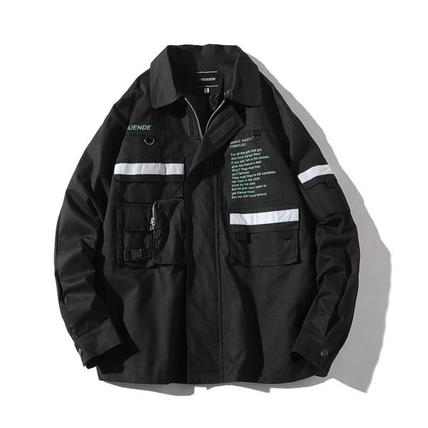 Men Reflective Windbreaker Jacket 2019 New Harajuku Tape Multi-pockets Letter Hip Hop Unisex Loose Brand Japanese Streetwear