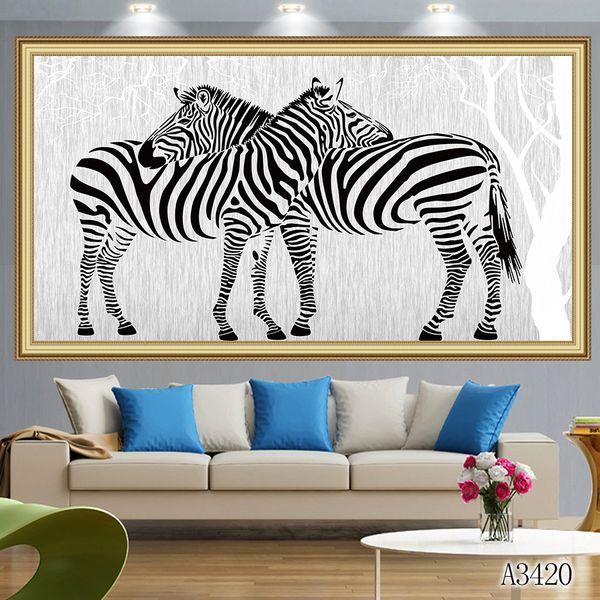 5d diy diamante pintura ponto cruz kit completo roundsquare diamante bordado animal zebra amante home mosaic decor gift toy a3420