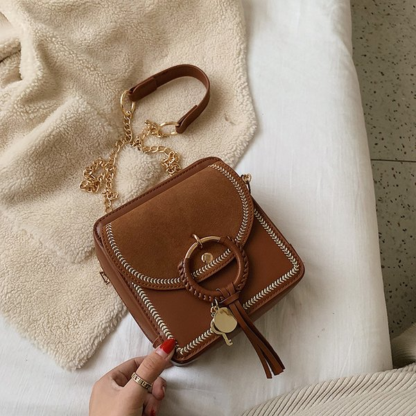 elegant women small square bag texture wheat ear ring lock tassel decoration wild solid color small chain shoulder messenger bag - from $20.31