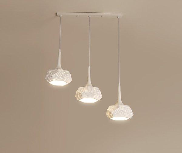 Geometric Led Pendant Lights With Metal Lampshade For Dining Room White Pendant Lamp Triple Lustre Kitchen Round Hanglamp Llfa Pendant Globe Light
