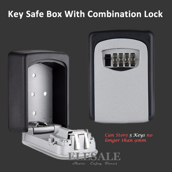 best selling Wall Mounted Key Storage Organizer Boxes with 4 Digit Combination Lock Spare Keys Organizer Boxes Metal Secret Safe Box