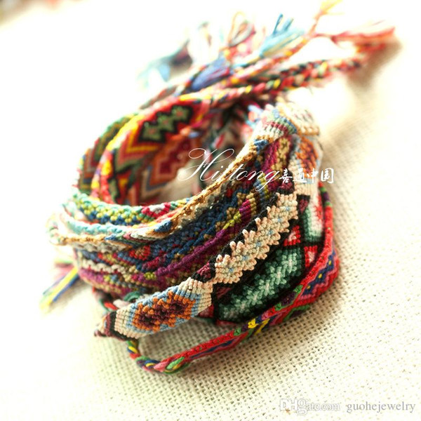 Fashion Vintage Style Nepal colorful hand-woven Bracelet Cotton Knitted Unisex Friendship Bracelets for women free shipping