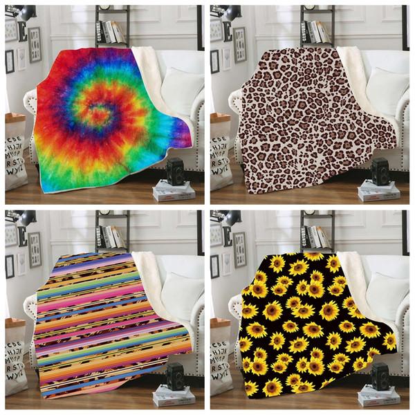 Decke Sherpa 150 * 130 cm Sonnenblume Blumen gestreifter Leopard 3D Printed Kids Winter-Plüsch-Schal Couch Sofa wirft Fleece-Verpackungs-Umhang LJJA2961