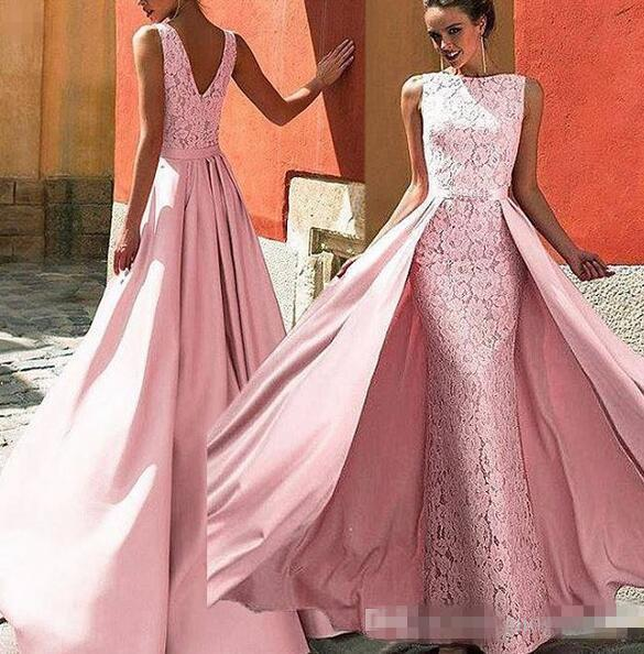 2019 New Sexy Zuhair Murad Mermaid Evening Dresses full lace with detachable train Formal Prom Dress custom made modest Celebrity Gowns