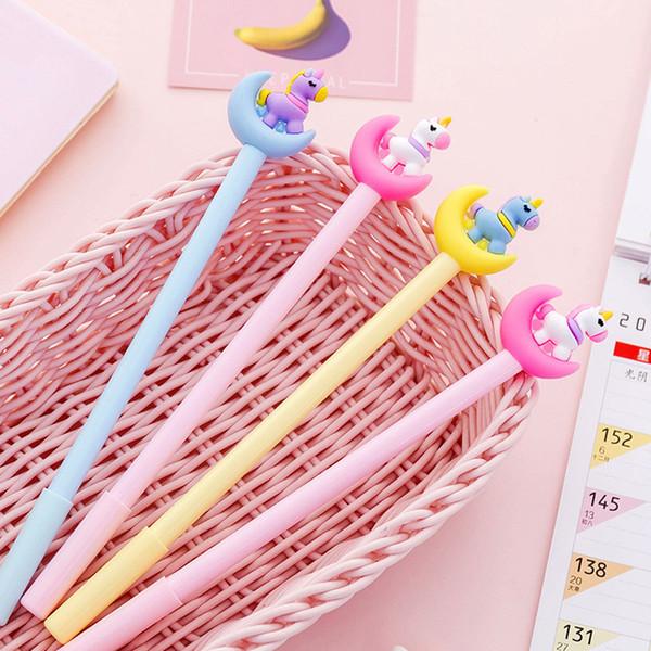 best selling Kawaii Moonlight Unicorn Gel Pen Student Writing Office Examination Limited Pen Cartoon Creative Stationery 0.5mm Black Needle Pen