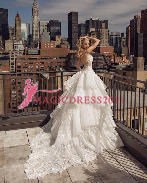 2019 Vintage Princesse A-ligne Robes De Mariée Dos Nu Sans Manches En Dentelle Appliques De Luxe Robes De Mariée Plus La Taille Custom Size Robes De Mariée