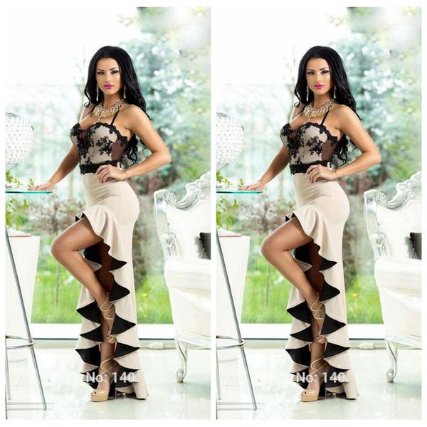2019 Sexy Espaguete Bainha Renda Preta Apliques Magros Vestidos de Baile Alta Baixa Formal Especial Ocasião Vestidos de Festa Hi-Lo Vestidos De Soiree