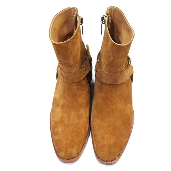 Follwwith Brand Fashion Tan Suede Leather Chains Harness Men Motorcycle Boots Stacked Heel Anke Boots Side Zip Men