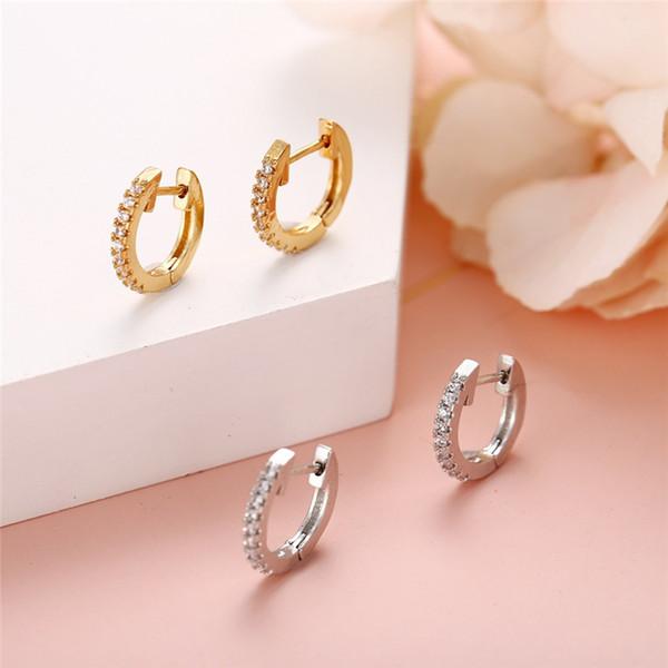 Pendientes del Rhinestone de los pendientes de joyas de oro O en forma de oreja regalo de la Mujer de las hebillas grandes pendientes redondos del perno prisionero