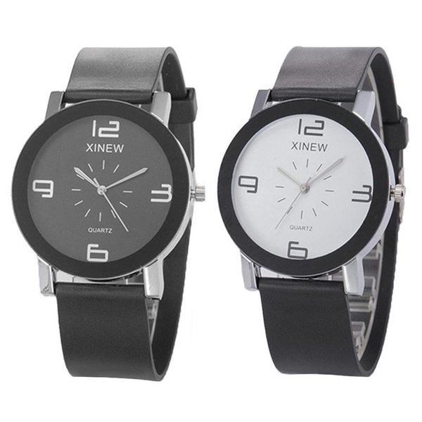 Women Rubber Quartz Wrist Watch Simple Big Number Round Dial Watches Lovers Clock For Couple Gift Feminino Female Relogio LL@17