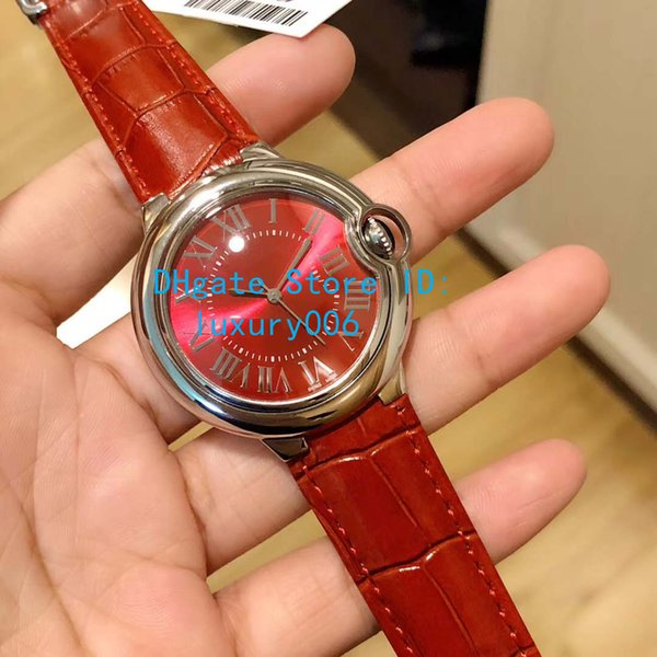 Luxury Quality Wristwatches 36MM China Red CR Watches 6920084 Quartz Battery Movement Red Leather Strap Lady Women's Watch Watches