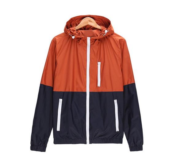 2019 Moda üst yeni Erkekler Rahat Bahar Sonbahar Hafif Ceket Varış Kapşonlu Kontrast Renk Fermuar up Ceketler Dış Giyim