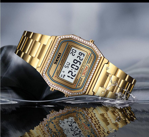 HF91W Ultra-thin FREE with brick edging B640W waterproof retro small square business casual A158W ladies electronic watch diamond F91 F91W