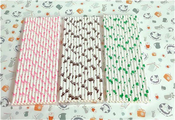 Paglia a strisce di protezione ambientale a strisce colorate Pappa di carta per alimenti con controllo dell'alimentazione FDA