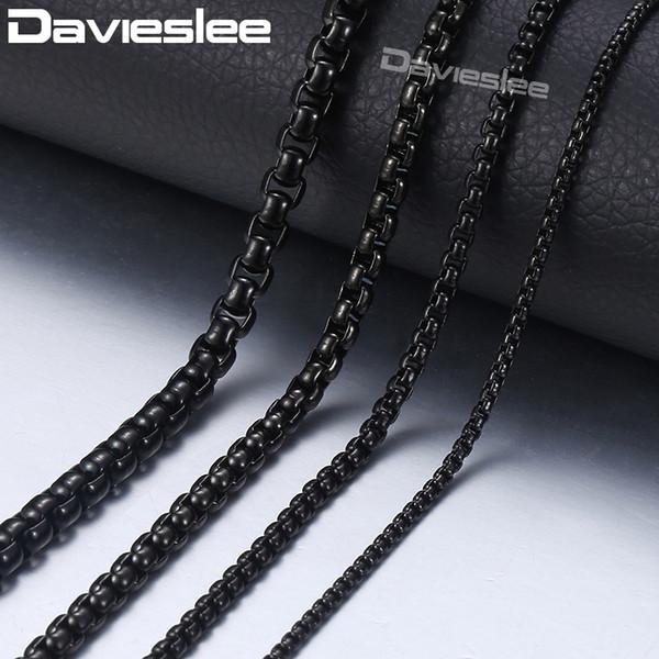 Davieslee Mens kolye Siyah Zinciri Paslanmaz Çelik Yuvarlak Kutusu Bağlantı Toptan Takı Hediye Özelleştirilmiş 03/02 / 4 / 5mm 18-36inch LKNM118