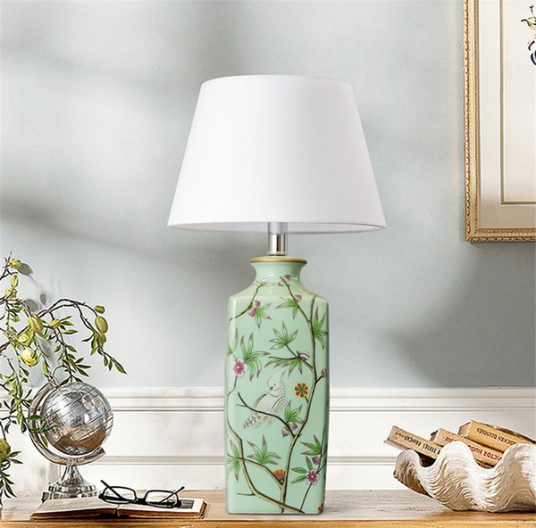 Chinois en céramique LED Lampes de table Décoration Lampes de table de chevet Chambre éclairage de lecture Lampes de bureau Salon Hôtel Chambres Bureau