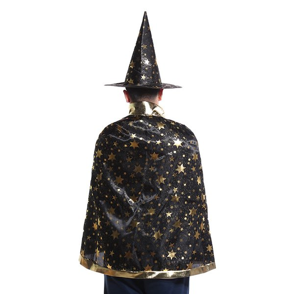 7 Colors New Fashion Cute Halloween five-pointed star costumes Wizard Witch Hat Party Cosplay Props Clear Hats for Kids Clacks
