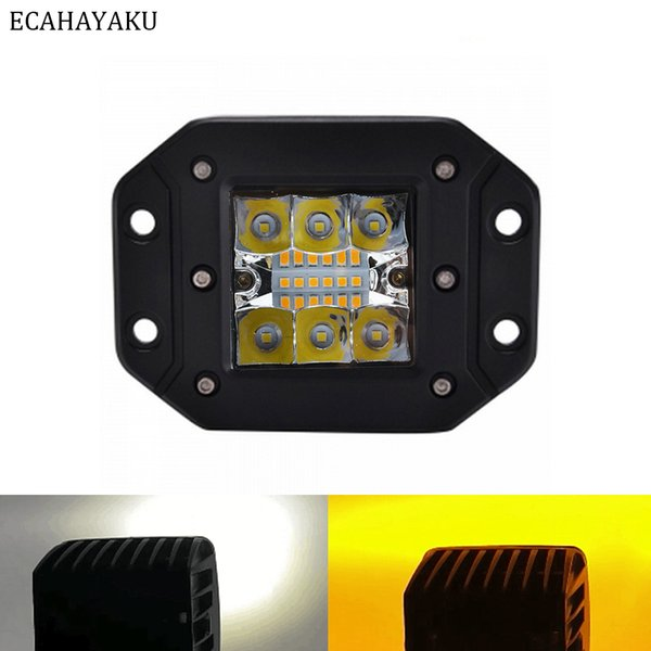 ECAHAYAKU Baccelli cubi quadrati da 3 pollici 36W Led Work Light Flash mount 12V 24V Stroboscopio a doppio colore per fuoristrada SUV Jeep Hummer Motore ATV