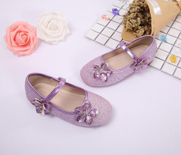 2019 chaussures de luxe tendon de boeuf paillettes Bow Flower designer chaussures fille chaussures printemps et automne enfants cadeau Livraison gratuite 293