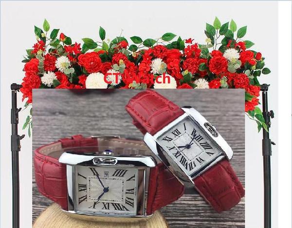 Berühmte Designer-heiße Verkaufs-Mann Frauen Marke NICHT mechanische Uhr Leder Strap neues Kleid Luxus-Quarz-Uhr Quadrat Relojes De Marca Armbanduhr