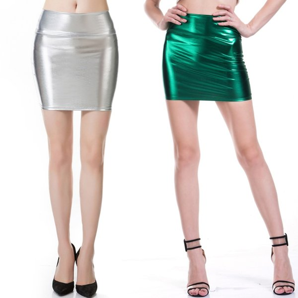 Short PU Faux Leather Skirts Women 2019 Sexy Slim Thin Package Hip High Waist Pencil Skirt Silver Laser Black Micro Mini Skirts