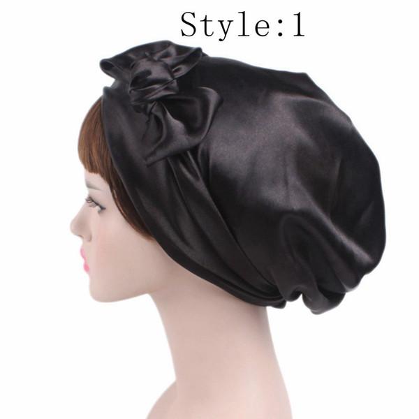 2018 женская мода атласный цветок с бантом платок тюрбан шляпа мягкий капюшон волосы оберточная леди спящая шапка шляпы