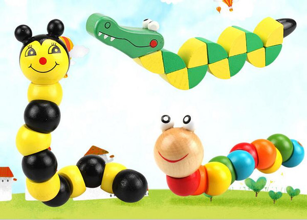 20.5CM 3 style Wooden color versatile twisted crocodile caterpillar animal bee twisted building blocks children's educational puzzle toy