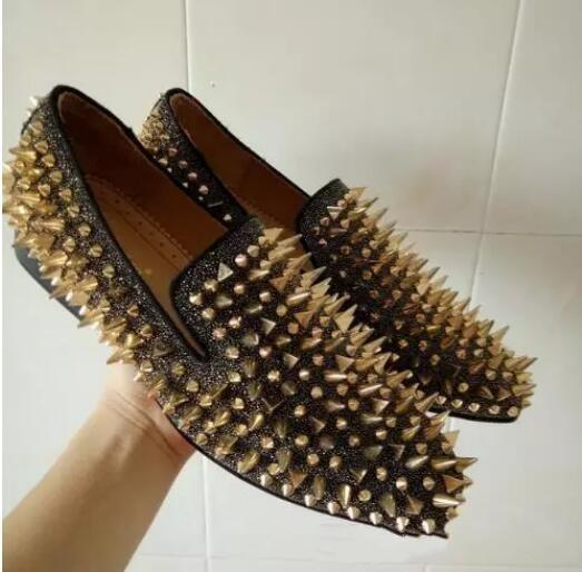 Custom Made Euro Size 46 Men Flats Spikes Diamonds Glitter Slipper Shoes Black Genuine Leather Wedding Shoes Man Casual Loafers