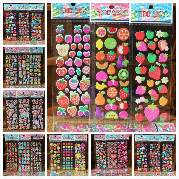 best selling stickers free shipping 10 Sheets lot 3D Puffy Bubble Stickers Mixed Cartoon Cars Waterpoof DIY Children Kids Boy Girl Toys for children