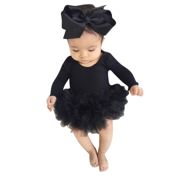 Infant Newborn Baby Girl Tulle Tutu Romper Bodysuit Clothes Headband Outfits Set kids dresses for girls Dropshipping Mar16