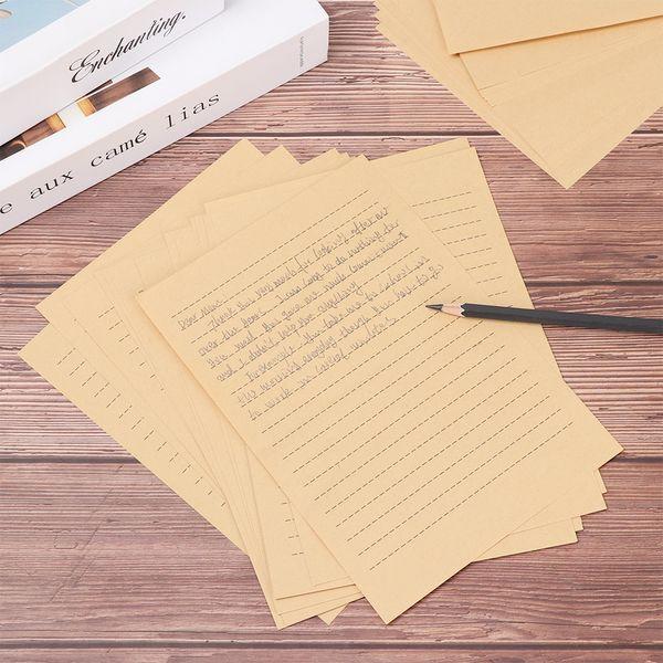 Compre 25 Hojas Clásico Vacío Carta De Papel Kraft De Papel Grueso Para La Tarjeta De Invitación De La Boda De Impresión De Tarjetas Postales Clásicas