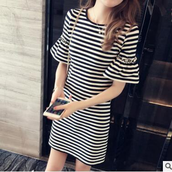 cheap Casual Luxury spring summer new dress female Korean version was thin in the long stripe dress short-sleeved women's long skirt tide