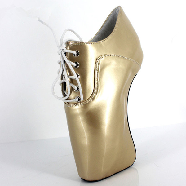 """Extreme High Heel 18cm/7"""" Sexy Fetish Hoof Heel Wedges Boots Lace-Up Round Toe BALLET Short Ankle Shoes"""