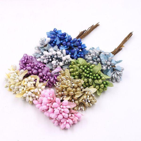 Oro en polvo perla baya flor artificial estambres ramo de la boda decoración del hogar DIY caja de regalo corona hecha a mano flor 100 unids
