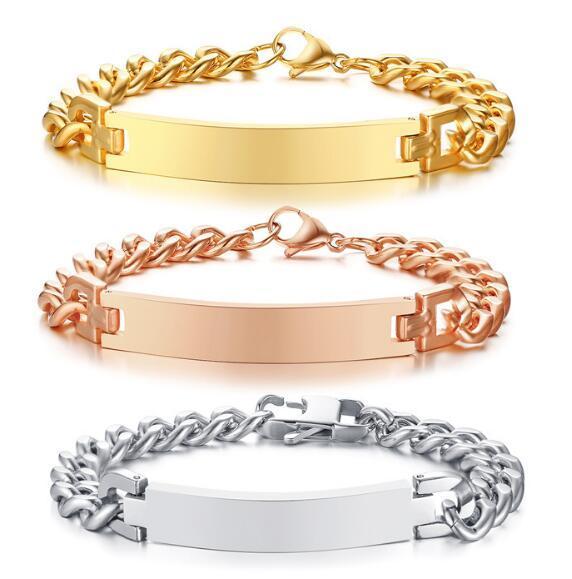 N004 HOT SELLING stainless steel jewelry cuff bangle bracelet women men fashion gifts silver/gold/rose gold ID Bracelet