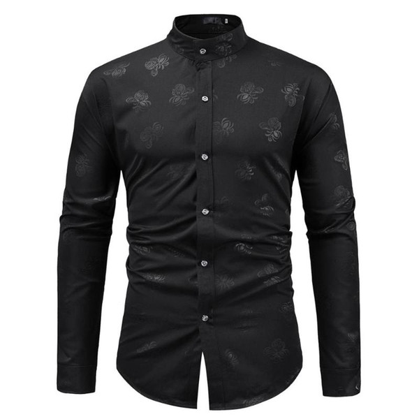 fashion floral print black shirt men 2020 brand slim fit long sleeve mens dress shirts wedding party mandarin collar shirt male