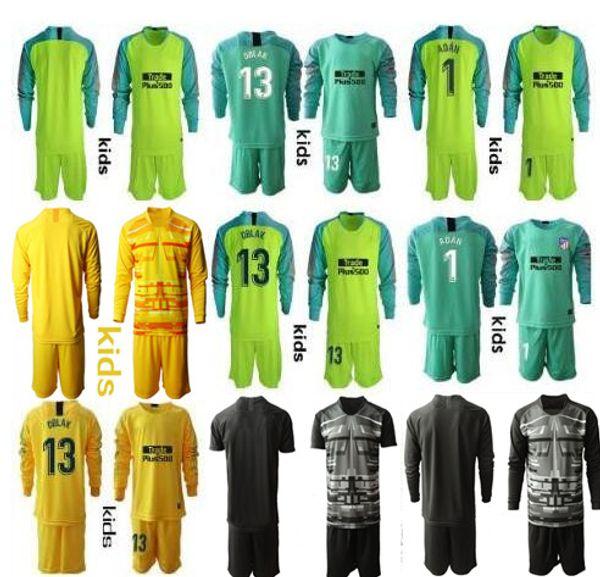 2019-2020 Juventude manga comprida Kid Adan Oblak Goleiro Jerseys Crianças Futebol Define # 13 Jan Oblak # 1 Adan Meninos Kits Goleiro Crianças Uniforme