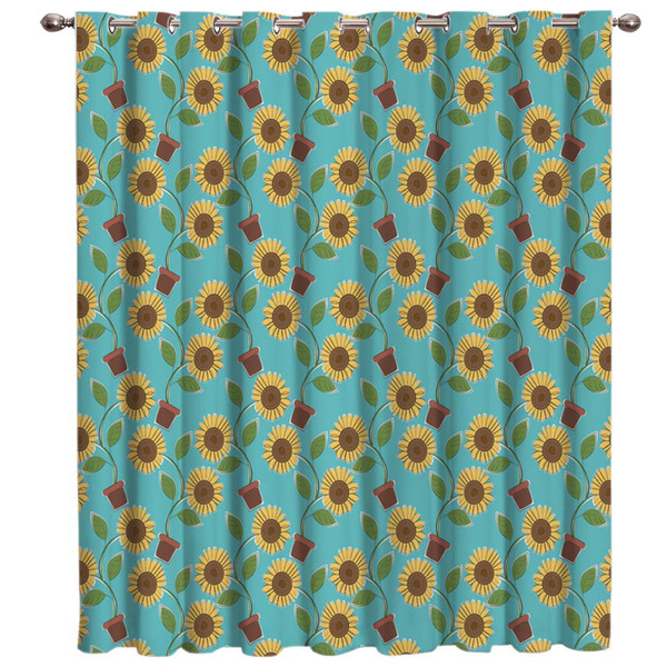 2019 Cartoon Floral Sunflower Room Curtains Large Window Curtain Rod Living Room Curtains Bathroom Fabric Curtain Panels With From Hobarte 3134