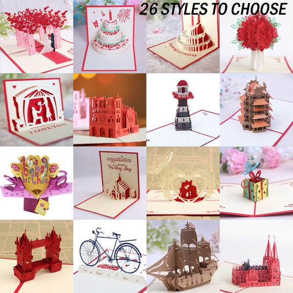 Compre Tarjetas 3d Invitaciones Cumpleaños Boda San Valentín Navidad Día De Acción De Gracias A 34 58 Del Bowstring Dhgate Com